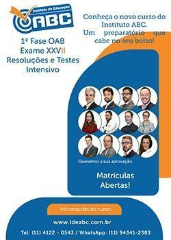Conheça o novo curso da OAB no Instituto ABC. Um preparatório que cabe no seu bolso.  Início:      17/09/2018 Término: 14/11/2018